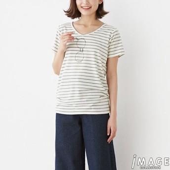 70%OFF【レディース】 VネックプリントTシャツ - セシール ■カラー:ボーダー ■サイズ:S