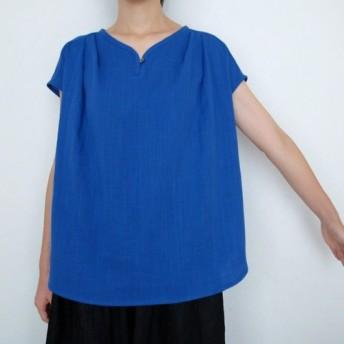 ダブルガーゼ(綿100%)のフレンチスリーブシャツ(ロイヤルブルー)