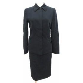 【中古】エポカ スーツ 上下 ジャケット ステンカラー シングル 比翼 スカート タイト ミモレ ロング ウール 38 黒