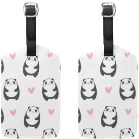 かわいい動物 パンダ くま ラゲージタグ ネームタグ レザー 荷物タグ スーツケース ラベル おしゃれ 旅行 アクセサリー 旅行タグ 2枚入り