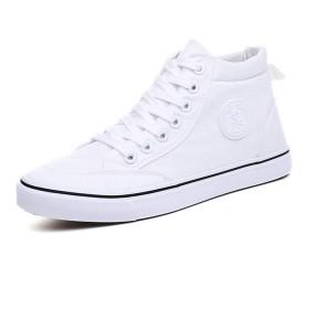 [シュウカ] ハイカット レースアップ ホワイト メンズ キャンバス 25.0cm カジュアル スニーカー シューズ スポーツ シューズ 運動靴 通気 柔らかい 軽く 仕事場 通学 通勤 日常 散歩靴 作業靴 旅行 夏 布靴 デニム スニーカー