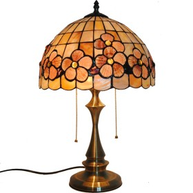 12インチティファニースタイルテーブルランプ、シェル豊富な花テーブルランプシェルランプヨーロッパのシェルテーブルランプ寝室ランプベッドサイドランプ装飾的なデスクランプ