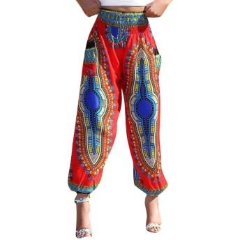 chenshiba-JP レディースダシキボホカジュアルルーズ巾着ウエストズボンワイド脚ラウンジパンツ 5 XS