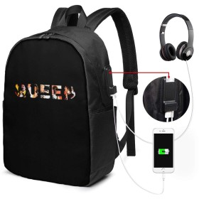 バックパック リュックサック クイーン・バンド・ロゴ USB 充電ポート 大容量 盗難防止 多機能 耐衝撃 旅行 通学 通勤 負担軽減 男女兼用 登山 軽量 アウトドア 個性的