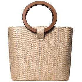 ecotrumpjp ショルダーバッグ 織木製ハンドバッグ カゴ素材トートバッグ 軽量 旅行 海 プール 花火大会(Color :カーキ色)