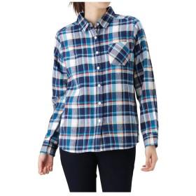 【20%OFF】 マックハウス Navy コットン フランネルシャツ レギュラーシャツ NG195 WF022 レディース ブルー L 【MAC HOUSE】 【タイムセール開催中】