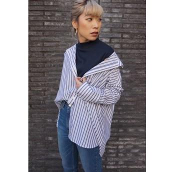 LIPSTAR / 【Willful by lipstar】タートルレイヤリングストライプシャツ