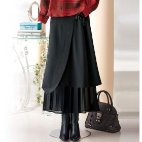 ベルーナ バックル使い重ねデザインスカート 黒 LL レディース