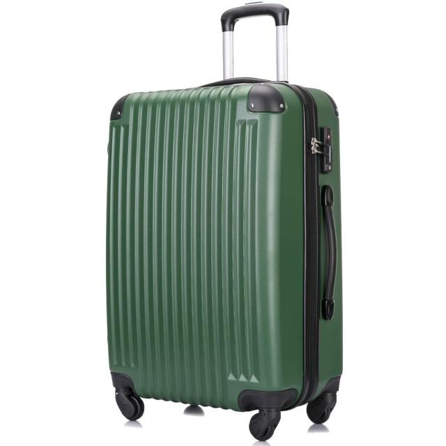 3年保証 超軽量スーツケース TSAロック搭載 機内持込み ファスナータイプ ダイヤル式 保管カバー付 グリーン SSサイズ
