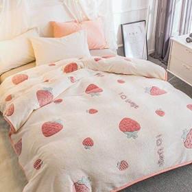 毛布 あったか フランネル 毛布 シングル 抗菌防臭 フランネル毛布 毛布 モウフ もうふ 寝具 軽量毛布 タオルケット として使える エアコン対策 車中 オフィス ソファーカバー お昼寝 に使える 苺柄 (150200cm)