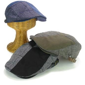 ハンチング - Smart Hat Factry <秋冬新作>チェック切替ハンチング(ツバ裏スエード) ヤング 帽子