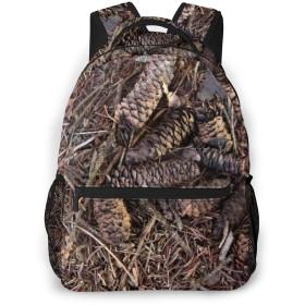 男女兼用のかわいい カジュアルバック パック リュックサック ファッションバッグ 旅行バックパック カレッジバッグ スポーツ ハイキング アウトドア 人気 高校生 中学生 大学生 通学通勤 大容量 -林床の松ぼっくりの松葉