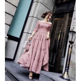 売れ筋 2018☆ 肩口レースが可愛らしい オフショル 花柄 ワンピース ロングスカート