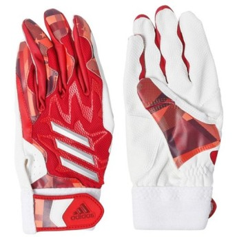アディダス 野球 バッティング用手袋 5TバッティンググラブJr ED1848 : レッド×シルバー adidas