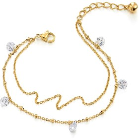 Tow-row Stainless Steel Gold Colour Anklet Bracelet with Dangling Cubic Zirconia