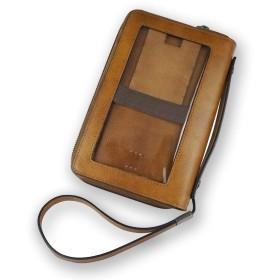 クラッチバッグ メンズ セカンドバッグ 透明タッチスクリーン ラウンドファスナ クラッチ リストレット 電話用財布クラッチ(brown)
