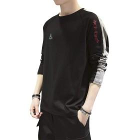 YELANE Tシャツ メンズ 長袖 カジュアル ファッション トップス 大きい サイズ 柔らかい 快適 春秋 黑色2XL