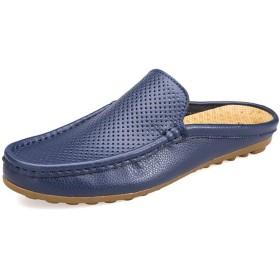 [You Are Fashion] ブランドローファー男性の靴夏のファッション豆カジュアルシューズ男性パステルキャンバスソフト快適なマン履物フラット男性の靴滑り止めフラットラウンドクローズトゥ (Color : 青, サイズ : 24 CM)