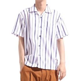 バレッタ 無地 ストライプ柄半袖オープンカラーシャツ[171903] ストライプ柄 無地 開襟 開襟シャツ シンプル ビッグシャツ ワイ メンズ ホワイト XL 【Valletta】