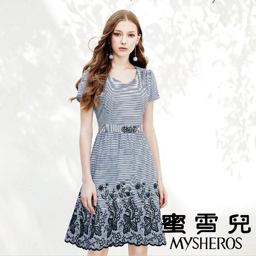 蜜雪兒MySHEROS-條紋緹花腰身洋裝-藍 9110-18157-70