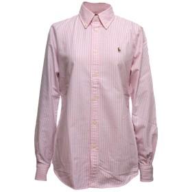 (ポロ ラルフローレン) POLO Ralph Lauren レディース スリムフィット オックスフォード ボタンダウン シャツ (XL, PINK/WHITE) [並行輸入品]