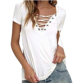 Keaac Women Summer Solid Color V Neck Lace Up Short Sleeve Blouse White XS