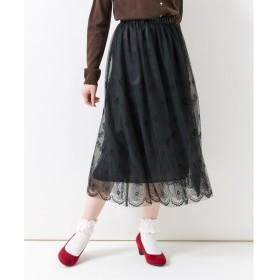 フロッキー柄チュールスカート (大きいサイズレディース)スカート,plus size