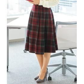 ウエスト前ゴム仕様フレアスカート (大きいサイズレディース)スカート,plus size