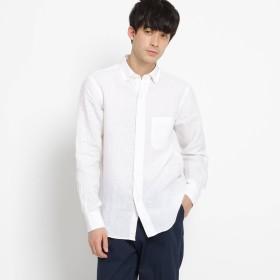 DRESSTERIOR(Men)(ドレステリア:メンズ)/【洗える】リネンシャンブレー刺しゅう入りラウンドカラーシャツ