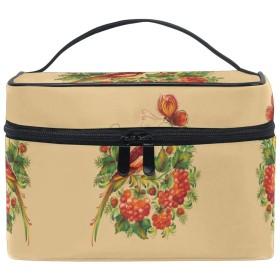レッドフェニックスバードアート化粧品袋オーガナイザージッパー化粧バッグポーチトイレタリーケースガールレディース