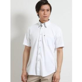 【m.f.editorial:トップス】Biz エンボスストライプ マイターボタンダウン半袖カットシャツ/ビズポロ/クールビズ