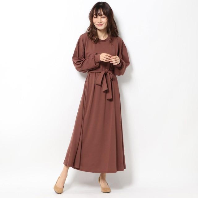 ジーラ GeeRA 【WEB限定】ベルト付フレアーマキシワンピース (ブラウン)