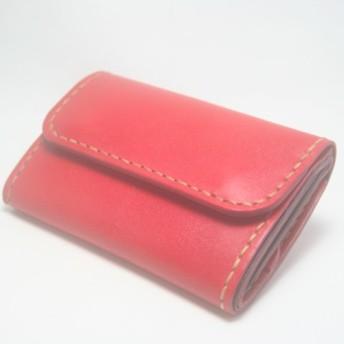 ♪キーケースサイズ レザーミニマルウォレット 小さい財布 レッド♪