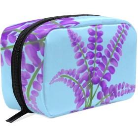 化粧ポーチ 紫色のラベンダーの花柄 化粧品 収納ポーチケース 小物用収納ポーチ バッグ 雑貨 小物入れ 携帯 便利 [並行輸入品]
