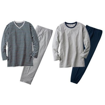 【レディース】 綿100%お得な4点セットパジャマ(男女兼用)(長袖&長パンツ2セット) - セシール ■カラー:B ■サイズ:3L,L,LL,S,M