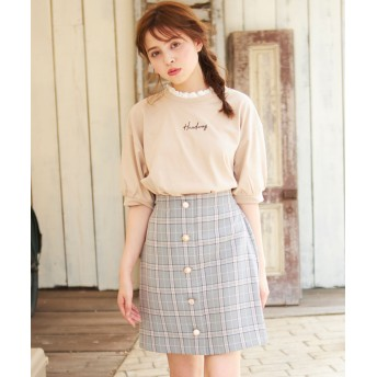 INGNI(イング)/アソート釦チェック柄台形スカート