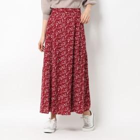 ジーラ GeeRA 【WEB限定】ソフトマーメイドプリントスカート (ボルドー系)