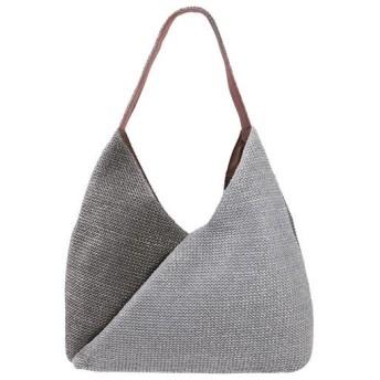 50%OFF夏素材のくったりショルダーバッグ(でかポーチ付) - セシール ■カラー:グレー系