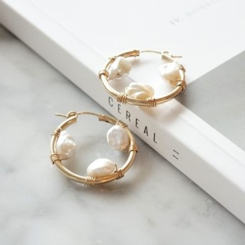 即納/送料無料14kgf*Freshwater Pearl Keshi wrapped pierced earring