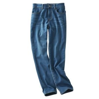 あったか♪裏フリースストレッチデニムゆるフィットパンツ (レディースパンツ)Pants, 子, 子