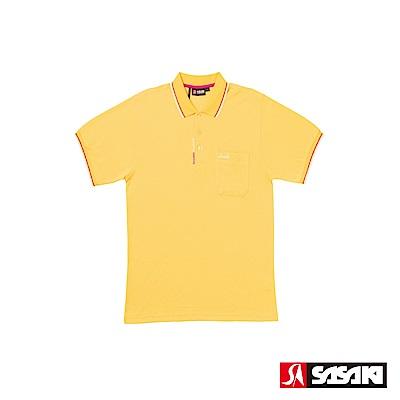 SASAKI 棉質吸濕排汗功能運動休閒短衫-男-巴西黃-防疫居家運動首選