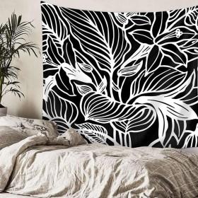 Leezeshaw 風景 タペストリー 黒と白 葉 プリント 壁掛け ボヘミアン ビーチタオル ヒッピー ヨガマット トップ飾り ファブリック 窓 部屋 壁の装飾 130x150cm