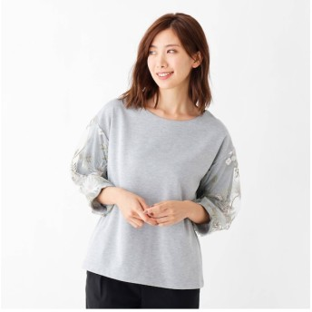 【シューラルー/SHOO・LA・RUE】 【WEB限定サイズあり】袖刺繍×レ-ス切り替えプルオーバー