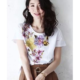 [フレンチパヴェ] Tシャツ レディース シンプル フラワー 花柄 刺繍 上品