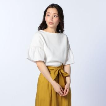 NOLLEY'S(ノーリーズ)/18Gミラノリブ布帛袖プルオーバーニット