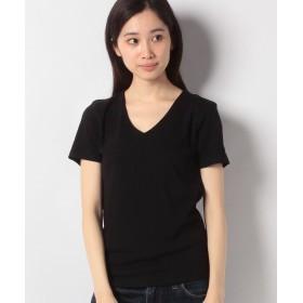 【40%OFF】 神戸レタス 前身二重半袖Tシャツ(Vネック) レディース ブラック L 【KOBE LETTUCE】 【タイムセール開催中】