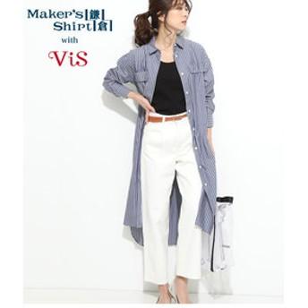 【ViS:ワンピース】【鎌倉シャツ×ViS】ロングシャツワンピース