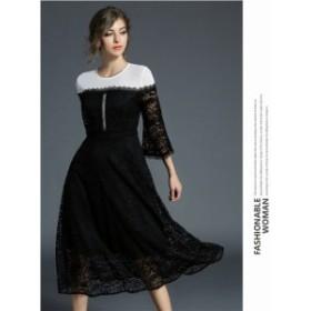 パーティードレス フォーマルウェア ひざ ミモレ丈 親族結婚式のドレス お呼ばれドレス レース 七分袖 大人可愛いワンピース 50代のフォ