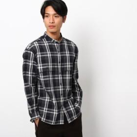 [マルイ] 長崎和紙混紡チェックバンドカラーシャツ/ザ ショップ ティーケー(メンズ)(THE SHOP TK Mens)