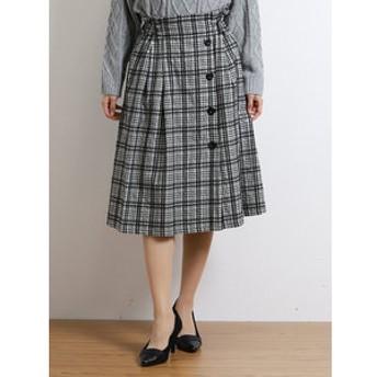 【on the day:スカート】格子柄ボタン使いラップ風Aラインスカート